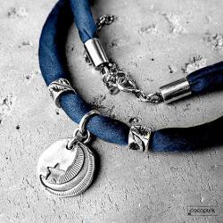 z jedwabiu,gwiazdka,srebrny,delikatny,surowy - Naszyjniki - Biżuteria