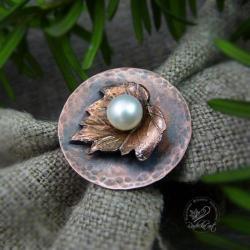 miedziany,okrągły,na palec,naturalna perła - Pierścionki - Biżuteria