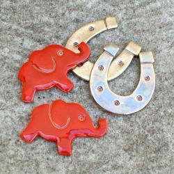 słoń,podkowa,na szczęście,magnesy,kuchnia - Magnesy na lodówkę - Wyposażenie wnętrz