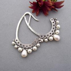 lekkie,okazałe,perły,Swarovski,oksydowane - Kolczyki - Biżuteria