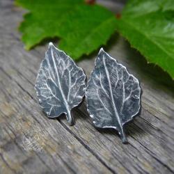 kolczyki sztyfty,srebrne liście,srebrne wkrętki - Kolczyki - Biżuteria