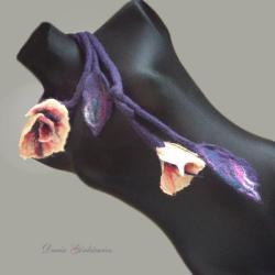 duży,długi,naszyjnik,filcowy,kwiatowy,szal,owijka, - Naszyjniki - Biżuteria