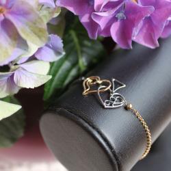 srebro oksydowane,srebro złocone,pik,serce - Bransoletki - Biżuteria