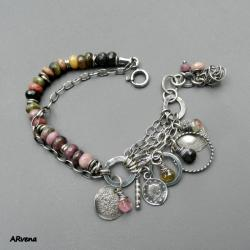 turmaliny,srebro,oksydowane srebro,bransoletka, - Bransoletki - Biżuteria