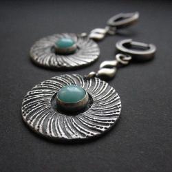 kolczyki,amazonit,biżuteria autorska,art clay - Kolczyki - Biżuteria