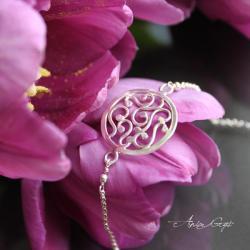 romantyczna rozeta,delikatna bransoletka - Bransoletki - Biżuteria