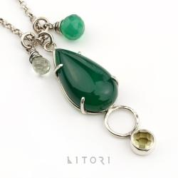 naszyjnik,zielony,delikatny,prosty,litori - Naszyjniki - Biżuteria