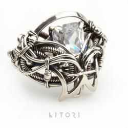 pierścień,cyrkonia,bezbarwny,litori,wrapping - Pierścionki - Biżuteria