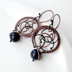 kolczyki,miedź,wire wrapping,noc kairu - Kolczyki - Biżuteria
