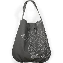 liście,grafitowa torba,worek,hobo - Na ramię - Torebki