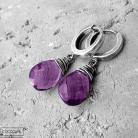 Kolczyki srebrne,fioletowe,z kamieniami,kwarc