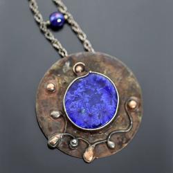 duży wisior,ceramiczny wisior,metaloplastyka - Wisiory - Biżuteria