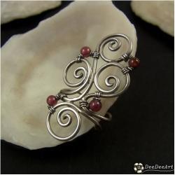 nausznica,srebrna,granat,lutowana,wyjątkowa,srebro - Kolczyki - Biżuteria