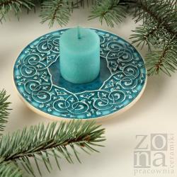 podstawka,podkładka,talerzyk,ceramika,turkus - Ceramika i szkło - Wyposażenie wnętrz