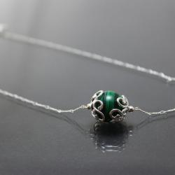 zielony,srebrny,delikatny - Naszyjniki - Biżuteria