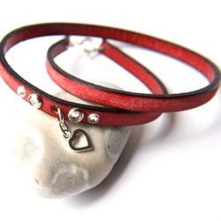 czerwona bransoletka,skórzana bransoletka - Bransoletki - Biżuteria