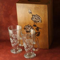 róże,grawerowane,piaskowane - Ceramika i szkło - Wyposażenie wnętrz