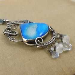 wisior,wrapping,niebieski,błękitny,misterny - Wisiory - Biżuteria