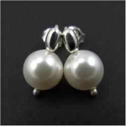kolczyki,mini,perła,swarovski,biała,sztyfty,ślub - Kolczyki - Biżuteria