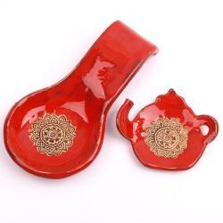 łyżka ceramiczna,podstawka pod herbatę,fusetka - Ceramika i szkło - Wyposażenie wnętrz