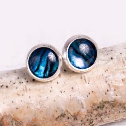 kolczyki,srebrne,sztyfty,drobne,kobiece,paua - Kolczyki - Biżuteria
