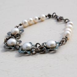 bransoletka,perły,naturalne,srebrna,elegancla,ślub - Bransoletki - Biżuteria