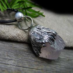 srebrny,zimowy,różowy,masywny,perłowy,długi - Wisiory - Biżuteria