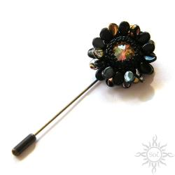szpila,kwiat,kwiatek,romantyczna,efektowna - Broszki - Biżuteria