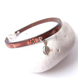 bransoletka skórzana,bransoletka z kwiatuszkami - Bransoletki - Biżuteria