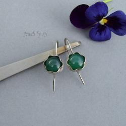 lekkie,delikatne,kwiatki,agat,zielone - Kolczyki - Biżuteria