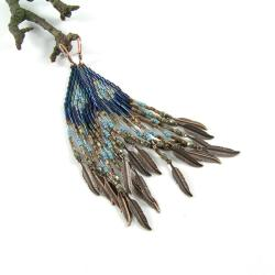 kolczyki etniczne,kolczyki z frędzlami - Kolczyki - Biżuteria