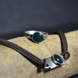 z zielonym agatem, - Pierścionki - Biżuteria
