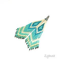 Kolczyki,indiańskie,na wiosnę,turkus,krem - Kolczyki - Biżuteria