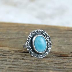 srebrny pierścionek z larimarem - Pierścionki - Biżuteria