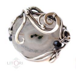 wrapping,srebrny,pierścionek,duży, - Pierścionki - Biżuteria