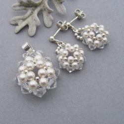 delikatny,wisior,kolczyki,perły,kryształy,ślubny - Komplety - Biżuteria