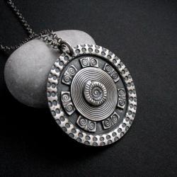 mandala,wisior srebrny,medalion,art clay - Wisiory - Biżuteria