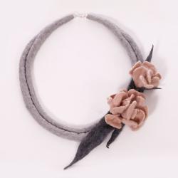 naszyjnik filcowany,kwiatowy naszyjnik,felted - Naszyjniki - Biżuteria