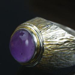 sygnet,pierścionek,ametyst,srebro,pomianowski - Pierścionki - Biżuteria