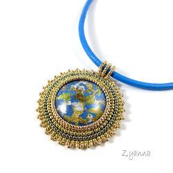 medalion,oryginalny,złoto-niebieski - Naszyjniki - Biżuteria