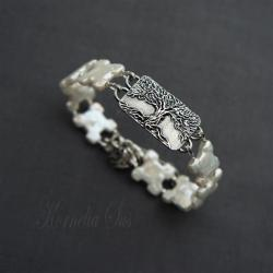 bransoletka,z perłami,z drzewem,srebrna - Bransoletki - Biżuteria