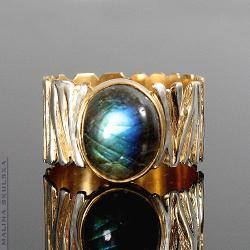 pierścionek,srebrny,złocony,zebra,labradoryt - Pierścionki - Biżuteria