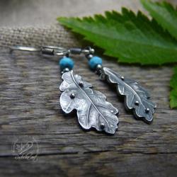 srebrne liście,turkus,dębowe liście - Kolczyki - Biżuteria