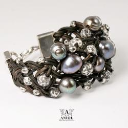 bransoleta,perły,biżuteria damska - Bransoletki - Biżuteria