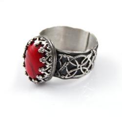 pierścionek,czeerwony,retro,srebro - Pierścionki - Biżuteria