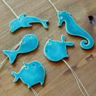Ceramika i szkło morskie,zawieszki,delfin,konik morski,rybki