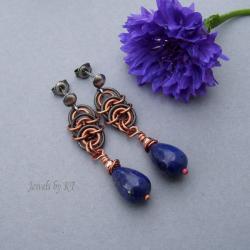 kolczyki,chainmaille,srebro,miedź,lapis lazuli - Kolczyki - Biżuteria