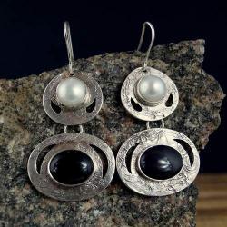 kolczyki z obsydianem i perłą - Kolczyki - Biżuteria