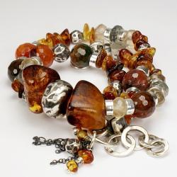 bransoleta,biżuteria z bursztynu,agat - Bransoletki - Biżuteria