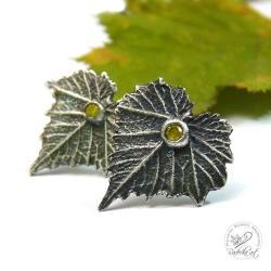 Kolczyki srebrne liście z cyrkonią - Kolczyki - Biżuteria